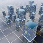 Blue modern city grid development illustration or background — Stock Photo