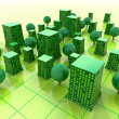 Green sustainable city buildings in grid illustration or background — Stok fotoğraf