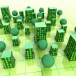 Green sustainable city grid development illustration or background - ストック写真