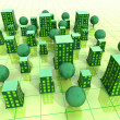 Green sustainable city grid development illustration or background - Stock Photo