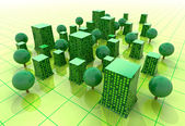 Green sustainable city buildings in grid illustration or background — Stock Photo