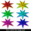 Colorful sharp edge stars shape set isolated for web use — Stock Photo