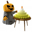 Royalty-Free Stock Photo: Isolated pumpkin witch with cake on wooden table illustration