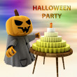 Pumpkin witch with cake on table with colorful background illustration - Stock Photo