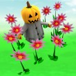 Royalty-Free Stock Photo: Halloween pumpkin witch in magic flower green garden illustration