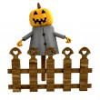 Isolated halloween pumpkin witch behind fence illustration - Stock Photo