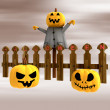 Halloween pumpkin heads ahead of fence at sunset illustration — Stock Photo #13721828