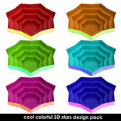 Colorful dimensional stars form isolated set for web use — Stock Photo