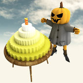 Pumpkin witch with cake and candle on table with sky background illustratio — Stock Photo