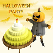 Pumpkin witch with cake on wooden table and bats flying on background illus — Stock Photo