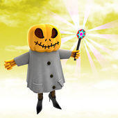 Pumpkin witch casting spell with yellow sunset background illustration — Stock Photo