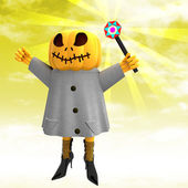 Pumpkin witch with charming wand with yellow sunset background illustration — Stock Photo