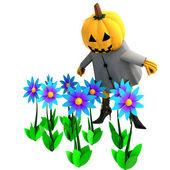 Isolated halloween pumpkin witch in mystic flower garden illustration — Stock Photo