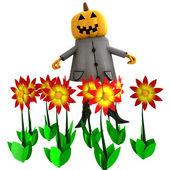 Izolované čarodějnice halloween dýně v květné zahradě ilustrace — Stock fotografie