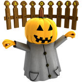 Isolated halloween pumpkin witch standing ahead of fence illustration — Stock Photo