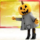 Chica de halloween calabaza parado delante de ilustración teplate cielo naranja — Foto de Stock