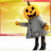 Ragazza di halloween zucca in piedi davanti a illustrazione teplate cielo arancione — Foto Stock