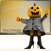 Chica de halloween calabaza frente a ilustración teplate — Foto de Stock