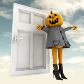 Pumpkin halloween witch standing in front of door with sky background illus — Stock Photo