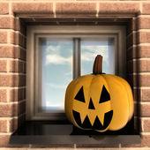 осенние глава тыквы хэллоуин, расположенный в окне иллюстрации — Стоковое фото