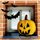 Pumpkin halloween head situated at window with bats illustration — Stock Photo