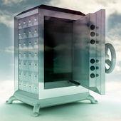 Impregnable blue metallic opened vault with sky illustration — Stock Photo