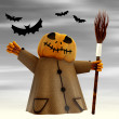 Royalty-Free Stock Photo: Standing halloween pumpkin figure motion blur dark sky and bats illustratio