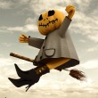 Royalty-Free Stock Photo: Flying halloween pumpkin witch sky background illustration