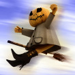 Flying halloween pumpkin on blue motion blur sky background illustration — Stock Photo