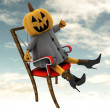 Halloween pumpkin sitting on chair sky cloudy background illustration — Stock Photo