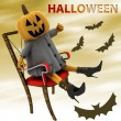 Halloween pumpkin sitting on chair with bats illustration — Stock Photo