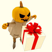 Isolated halloween pumpkin witch has gift suprise illustration — Stock Photo