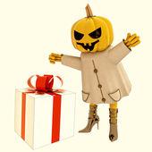 Halloween pumpkin witch has big gift illustration — Stock Photo