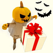 Halloween pumpkin witch has gift suprise with bats illustration — Stock Photo