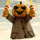 Halloween pumpkin witch with lighted candles cloudy background illustration — Stock Photo