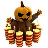 Geïsoleerde halloween pompoen heks met in cirkel illustratie kaarsen — Stockfoto
