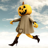 Walking halloween pumpkin witch with blue sky illustration — Stock Photo