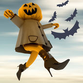 Dancing halloween pumpkin witch motion blur blue sky and bats illustration — Stock Photo