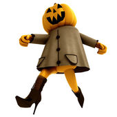Isolated running halloween pumpkin witch illustration — Stock Photo