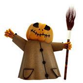 Izolované halloween dýně postava drží koště ilustrace — Stock fotografie