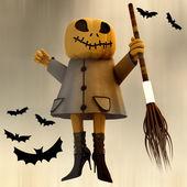 Standing halloween pumpkin witch motion blur dark sky and bats illustration — Stock Photo