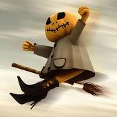 Flying halloween pumpkin in motion blur dark sky background illustration — Stock Photo