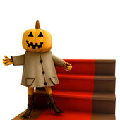 Isolated halloween pumpkin standing on red carpet illustration — Stock Photo