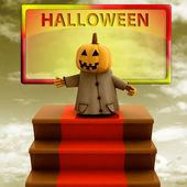 Zucca in piedi sull'illustrazione di tappeto rosso scale modello giallo — Foto Stock