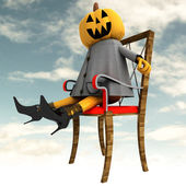 Halloween pumpkin sitting side view sky cloudy background illustration — Stock Photo