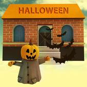 Pompoen heks voor huis met halloween tekst en vleermuizen illustratie — Stockfoto