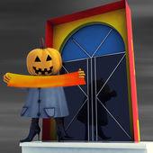 Calabaza bruja oscura sostiene raya editable en ilustración de noche — Foto de Stock