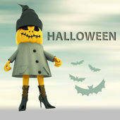 Pumpkin witch with bats and blur background halloween text postcard — Stock Photo