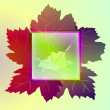 Royalty-Free Stock Vector Image: Colorful square frame and wine leaves card vector