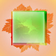 Stock Vector: Orange cool colored square frame and wine leaves card vector